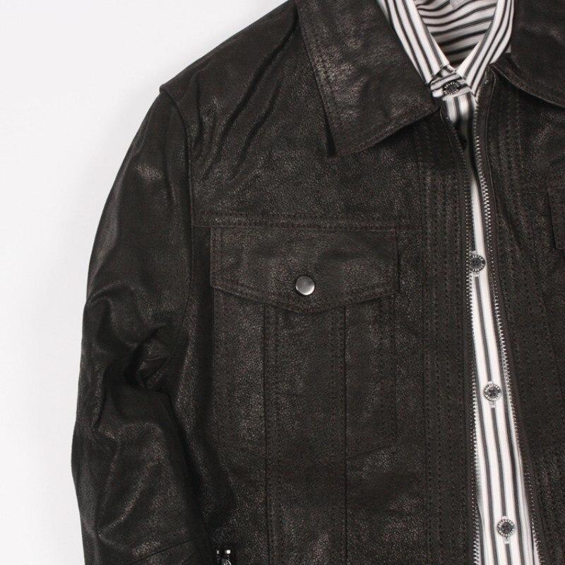 Relaja la capa de cuero del cerdo de los hombres cortocircuitos de la moda del cuero del abrigo 2020 nuevo abrigo de la cremallera de los hombres - 2