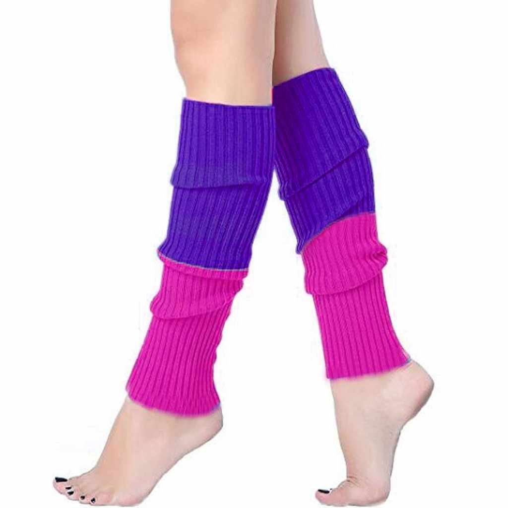 ถุงเท้ายาวอุ่นเท้า Candy สีผู้หญิง Boot Cuffs อุ่นถัก Raimbow calcetines drop เรือ 30H