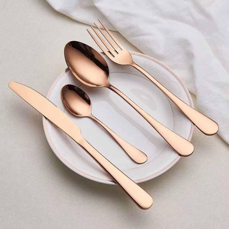 Spklifey ชุดอาหารเย็นงานแต่งงาน Golden ชุดช้อนส้อมสแตนเลสมีดส้อมช้อนเครื่องเงินขายส่ง