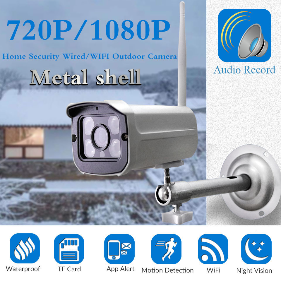 1080P Outdoor WiFi Wireless Security Bullet IP Camera Audio IR LED Night Vision Motion Detection Alarm, Support Max 64GB SD Card