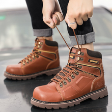 Original Working Men Boots Top Quality Leather Military Combat Man Boots Lacing Casual Shoes Brand Motorcycle Boots for Mens