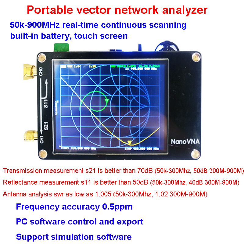 NanoVNA Vector Network Analyzer 50KHz-900MHz Digital Touching Screen Shortwave MF HF VHF UHF Antenna Analyzer Standing Wave