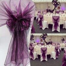 65x275cm naranja Organza nudo boda silla decoración banquete evento silla decoraciones pajaritas cintas para sillas fajas azul 25 unids/lote