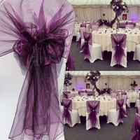 65x275cm Orange Organza Knot Wedding Chair Decor Banquet Event Chair Decorations Bow Ties Chair Bands Sashes Blue 25pcs/lot