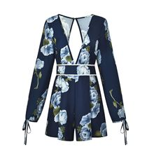 Fashion Sexy Long Sleeve Loose Womens Romper Back Hollow Out Floral Printed Rompers Jumpsuit Shorts