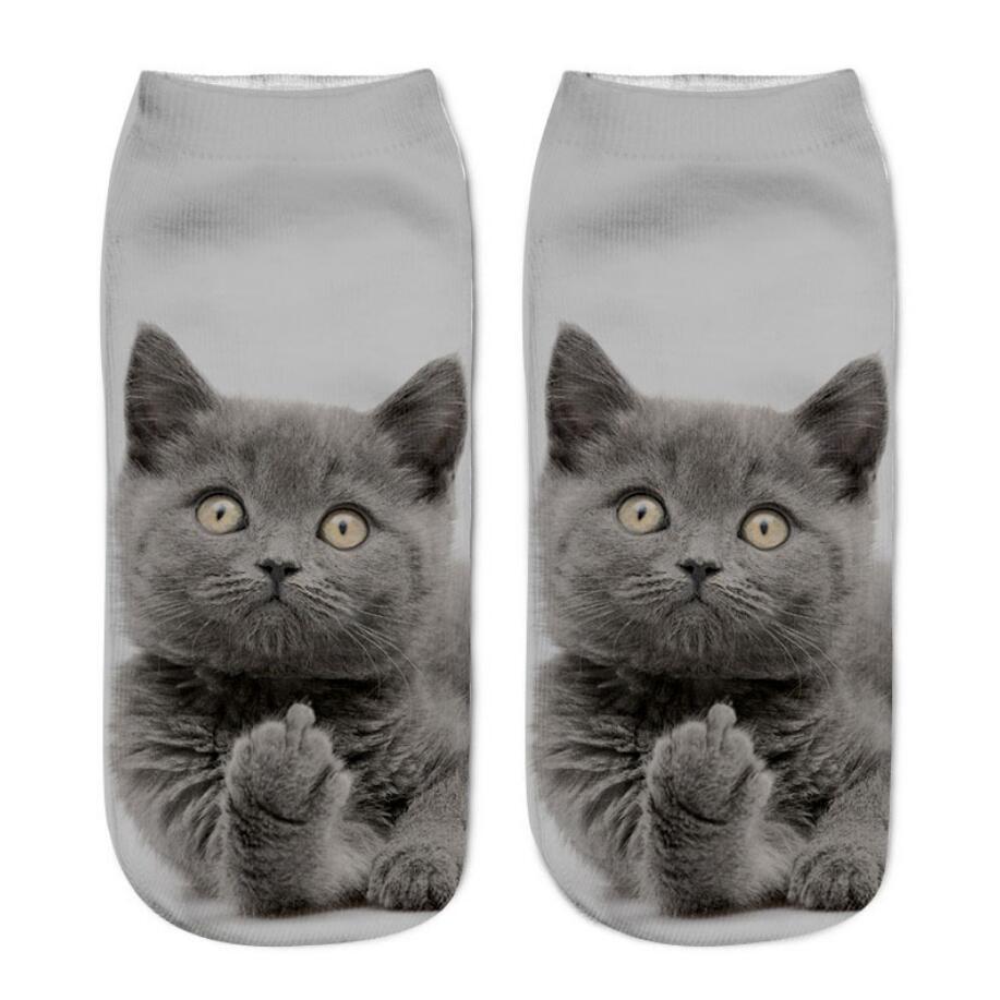 2020 Ins New 3D Print Funny Cute Cartoon Kitten Unisex Short Socks Creative Multiple Cat Face Happy Low Ankle Socks For Women