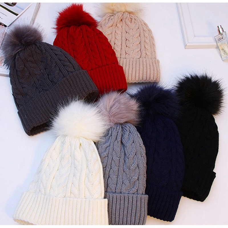 Thicken Warm Fur Ladies Pom Pom Hats   Beanie   2019 Winter Hats For Women Knitted Hat Female Pompom Hat With Pompon