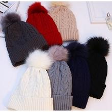 Zagęścić ciepłe damskie czapki z pomponem czapka zimowa 2019 czapki zimowe dla kobiet czapka z dzianiny kobieta czapka z pomponem z pomponem tanie tanio Acrylic COTTON Dla dorosłych Kobiety Na co dzień MH2019 Paski Skullies czapki Knitted hat As the picture female Acrylic fibers