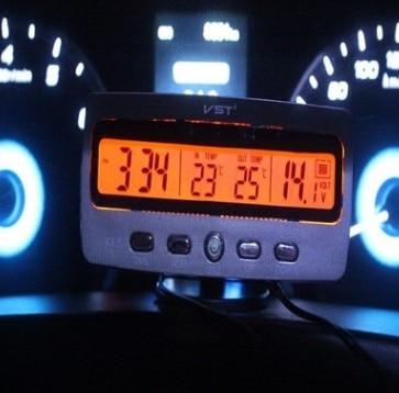 Автомобильные электрические часы 3 in 1Car, таймер 12 В, автомобильный термометр 7045 в, синий, оранжевый светильник, светодиодный задний светильник, предупреждающий об морозе, автомобильные аксессуары|Часы| | АлиЭкспресс