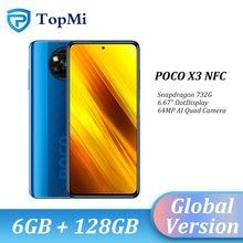 Versão global xiaomi poco x3 nfc smartphone 6gb 64gb/128gb snapdragon 732g octa núcleo 64mp câmera 5160mah bateria 120hz pocox3