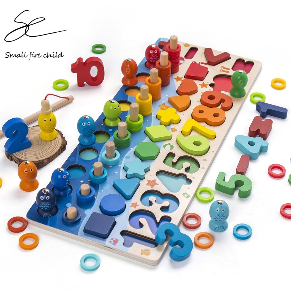 Crianças brinquedos montessori brinquedos educativos de madeira forma geométrica cognição quebra-cabeça brinquedos matemáticos brinquedos educativos cedo para crianças