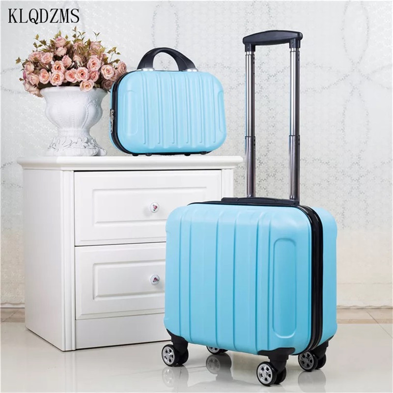 KLQDZMS 18Inch  Cute Trolley Luggage Set ABS New Mini Women Spinner Rolling Suitcase Carry On Cosmetic Bag