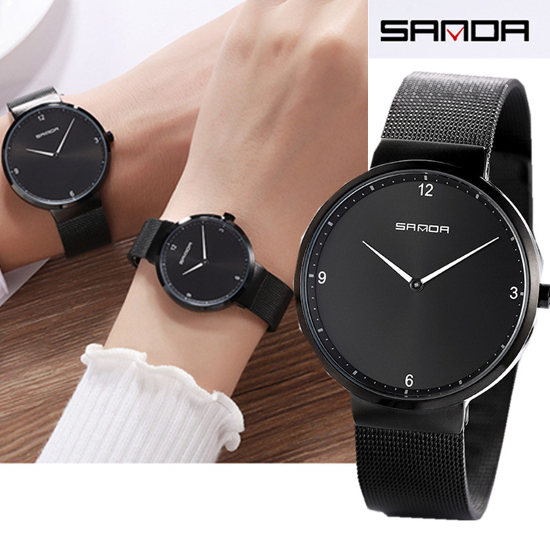 SANDA Luxury Quartz Watch For Women Female Men Lovers Couple Mujer Wristwatch Milanese Stainless Steel Dial Band 2019 New
