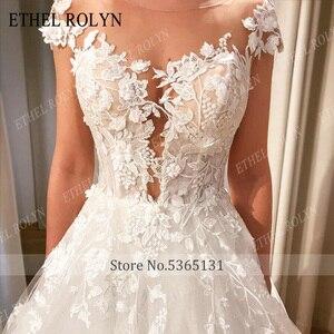 Image 4 - Étel rolyn vestido de noiva a linha, ombro fora, romântico, renda, apliques, praia, boho, de noiva 2020