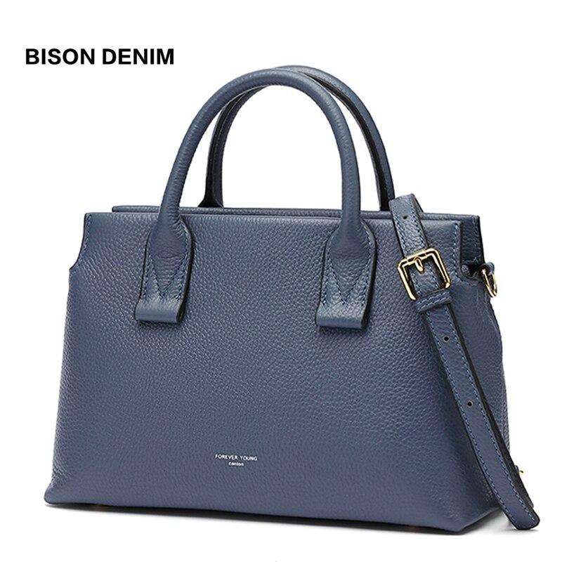 BISON DENIM Genuine Leather Luxury Handbags Women Bags Designer Women Tote Bag Casual Top-handle Bag Female Shoulder Bag B1870