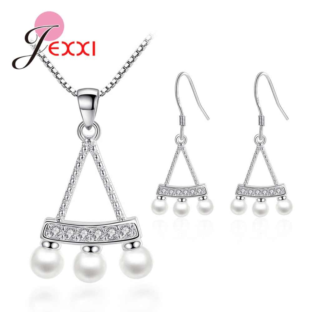 Luxury Brand Women 925 Sterling Silver Simulated Pearl Sets Shining Pendant Necklaces Cubic Zircon Drop Earrings Wedding Jewelry