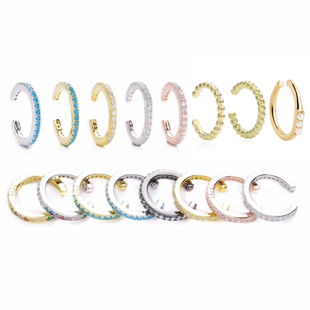 Moonnory 925 Sterling Silver Ear Cuff Earrings Non Pierced Earrings Clip Earrings Without Piercing CZ Earcuff Women Jewellry