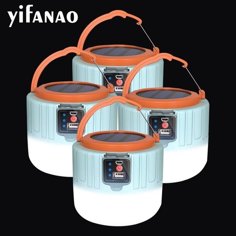 Dropshipping 8000lumens Solar USB Rechargeable Worklamp LED Camping Light Portable Lanterns Market lamp Emergency repair Lights