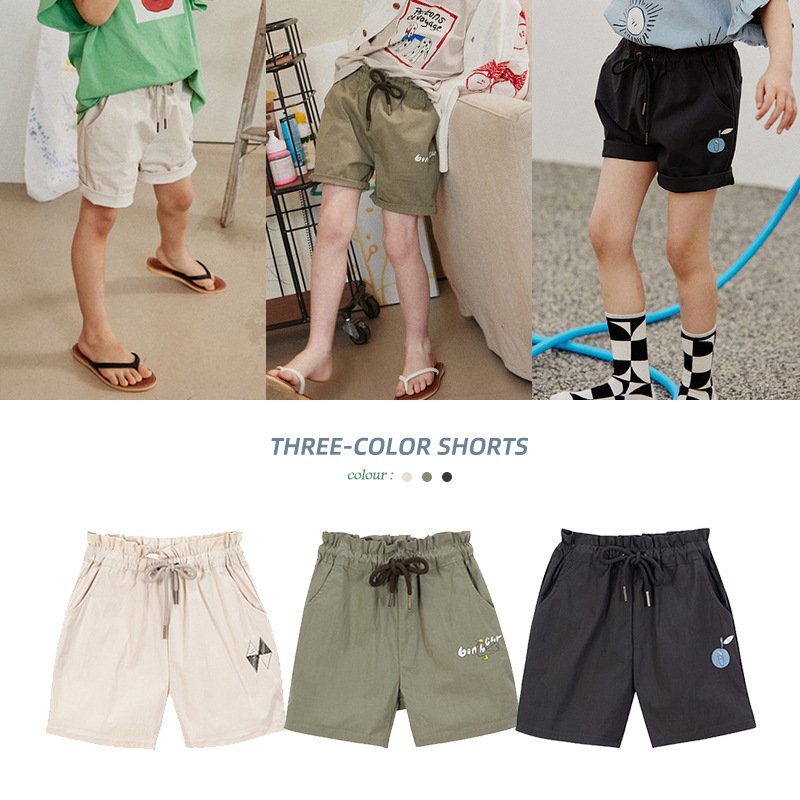 Summer Boys' and Girls' Shorts Korean Children's Fashion Leisure Cartoon Embroidery Stretch Waist Lace Up Solid Color Shorts NEW