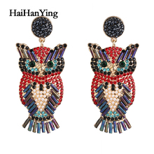 Fashion Owl  Lady Earring Charm Luxury Animal Jewelry Punk Exaggerated Personality Statement 2020 Trends Earring брюки lady charm