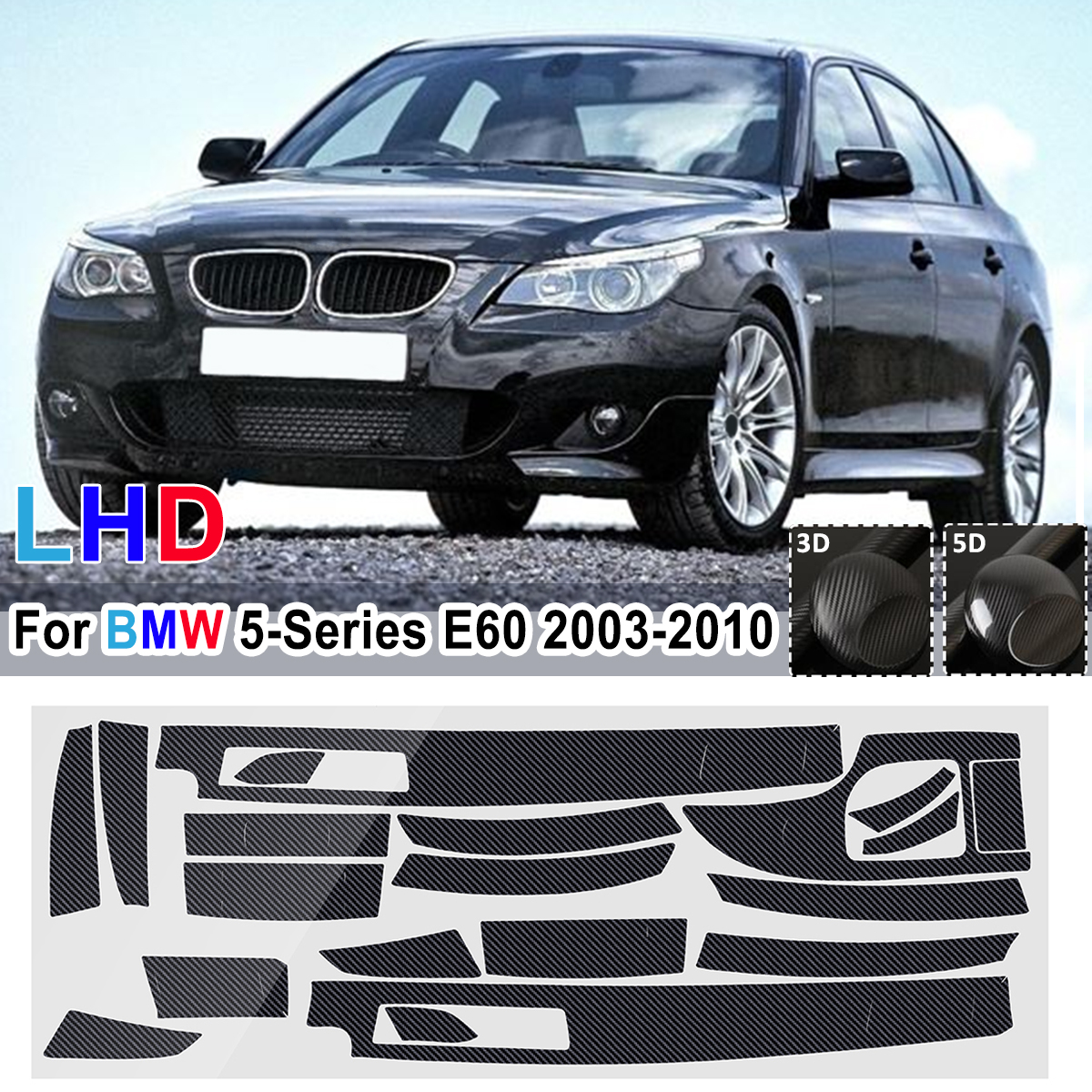 18Pcs LHD 5D Glossy/3D Matte <font><b>Carbon</b></font> Fiber Pattern Car <font><b>Interior</b></font> Dashboard Sticker For <font><b>BMW</b></font> 5-Series <font><b>E60</b></font> 2003-2010 image