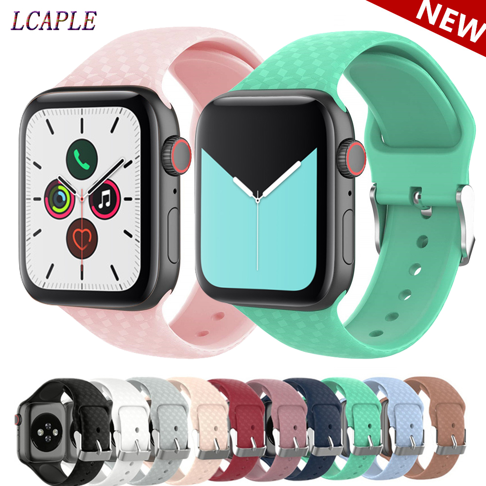 3D Texture Strap For Apple Watch 5 4 Band 44mm Iwatch Band 42mm Correa Apple Watch 38 Mm 40mm Silicone Pulseira Watchband 3 2 44