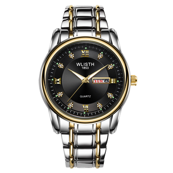 Luxury Silver  White Dial Steel Belt Men's Watch