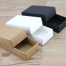 10 גדלים קראפט שחור לבן מתנת קרטון קופסא קרטון קראפט ריק קרטון נייר מתנת נייר קופסא עם מכסה מתנת אריזה תיבה