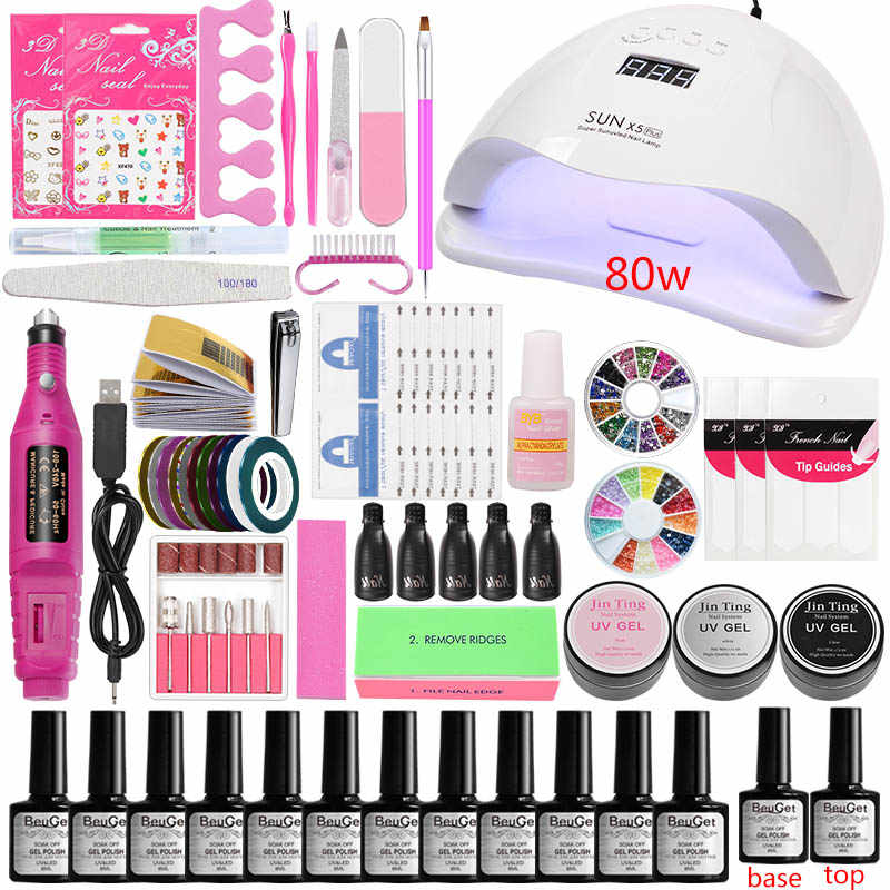 45 w/80 w Led Nail Lamp voor Nagels Manicure Set Kit Gel Polish 12 Gel Vernis Acryl nail kit Manicure Machine Handvat Set