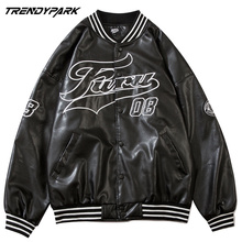 Men's Bomber Jacket 2021 Spring PU Leather Fabric Digital Letters Printed High Street Windbreaker Single Breasted Coat Clothing
