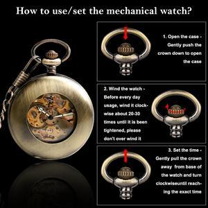 Image 3 - Kendini rüzgar cep saati bakır moda bronz kolye pürüzsüz Retro İskelet Unisex otomatik mekanik şık şükran hediye