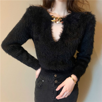 2020 Autumn Winter Fashion  Mink Cashmere Knitted Sweater Women Long Sleeve Pull Whtie Black Hollowed Out Sexy Crop Top Pullover - discount item  20% OFF Sweaters