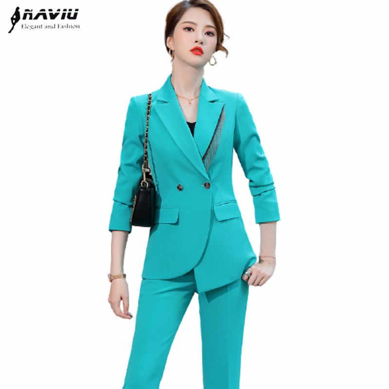 Naviu Conjunto De Dos Piezas De Moda Para Mujer Blazer Formal De Negocios Pantalones Ajustados Ropa De Oficina Primavera 2021 Trajes De Pantalon Aliexpress