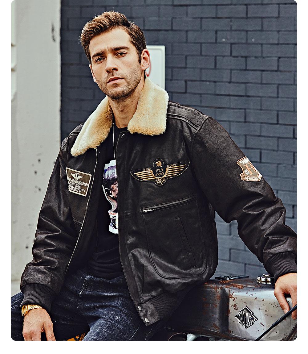 H546d42b2c73d4465bf76f22f96e1ce09o FLAVOR New Men's Real Leather Bomber Jacket with Removable Fur Collar Genuine Leather Pigskin Jackets Winter Warm Coat Men