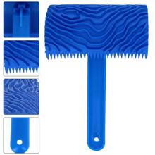 1pc Blue Rubber Wood Grain Paint Roller Brush DIY Graining Painting Tool Wood Grain Pattern Wall Art Painting Roller Home Tool
