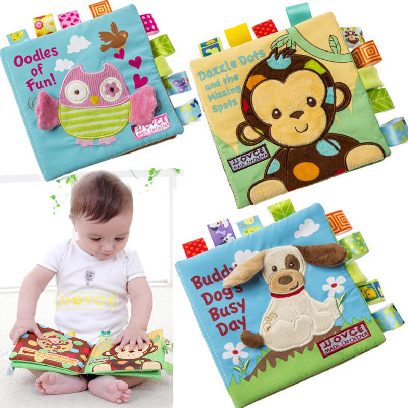 4 Pages Baby Early Educational Toy Embroidery Soft Cloth Book Stroller Rattle Toys For Newborn Baby 0-12 Month
