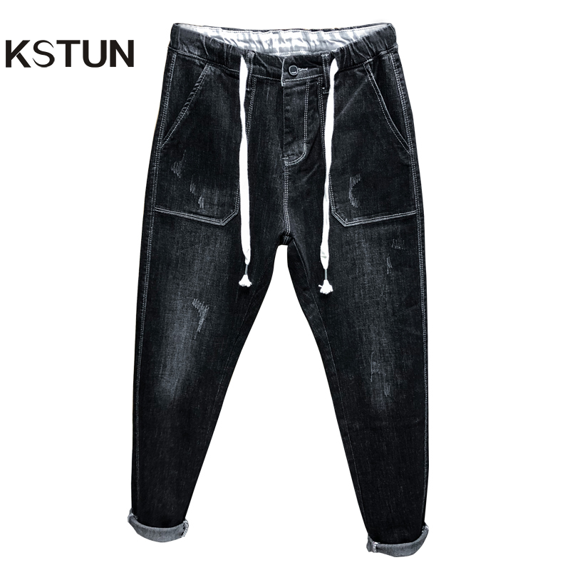 KSTUN 2019 Autumn Mens Jeans Black Stretch Relaxed Tapered Jeans Elastic Drastring Waist And Baggy Legs Male Denim Joggers Pants