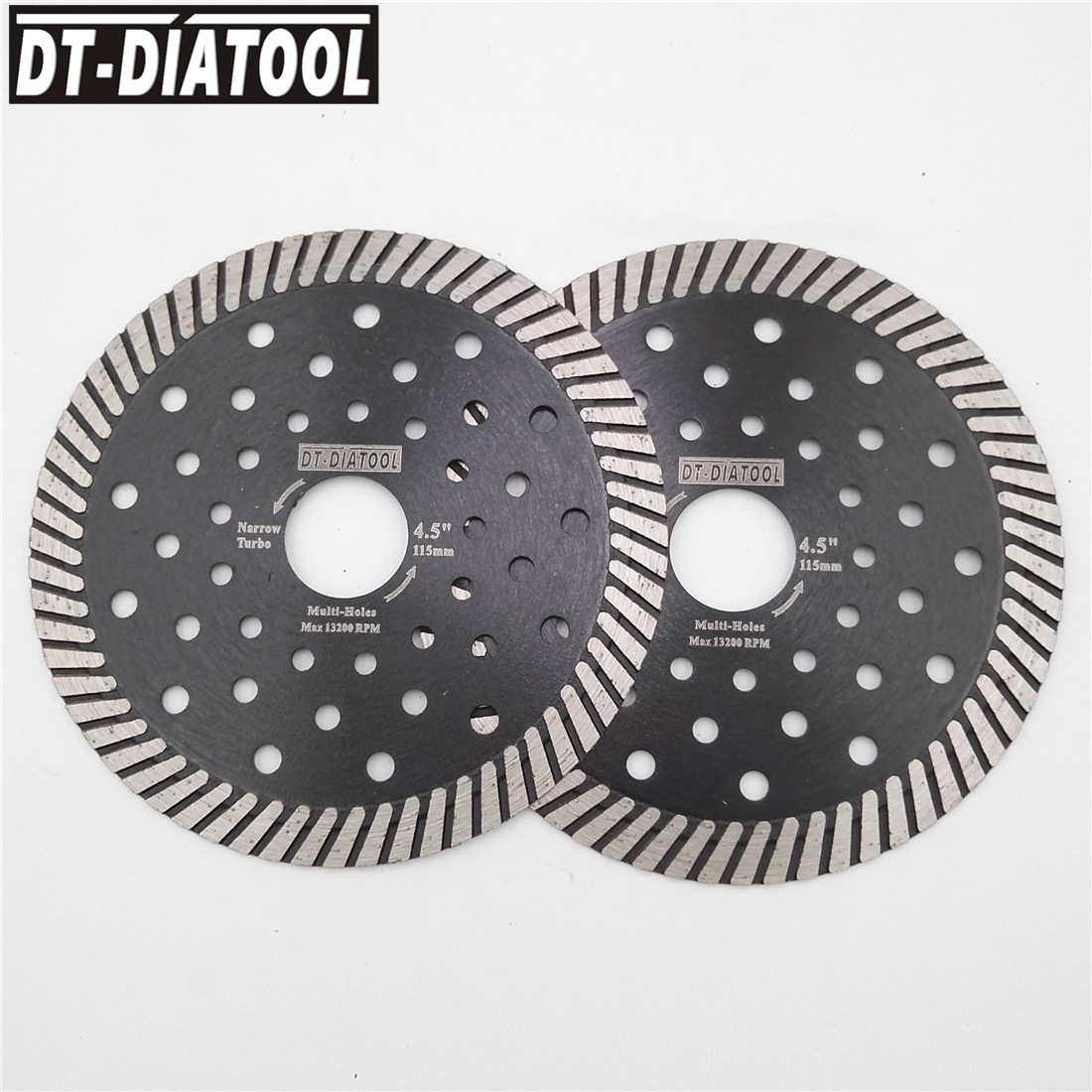 DT-DIATOOL 2pcs Diamond Narrow Turbo Saw Blades With Multi Hole Cutting Discs Granite Marble Concrete Masonry Diamond Wheel