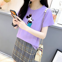 Korean-style Pure Cotton Large Size Loose-Fit T-shirt WOMEN'S Short Sleeve Shirt 2020 Summer Women's Mickey Mouse T-shirt Fashio(China)