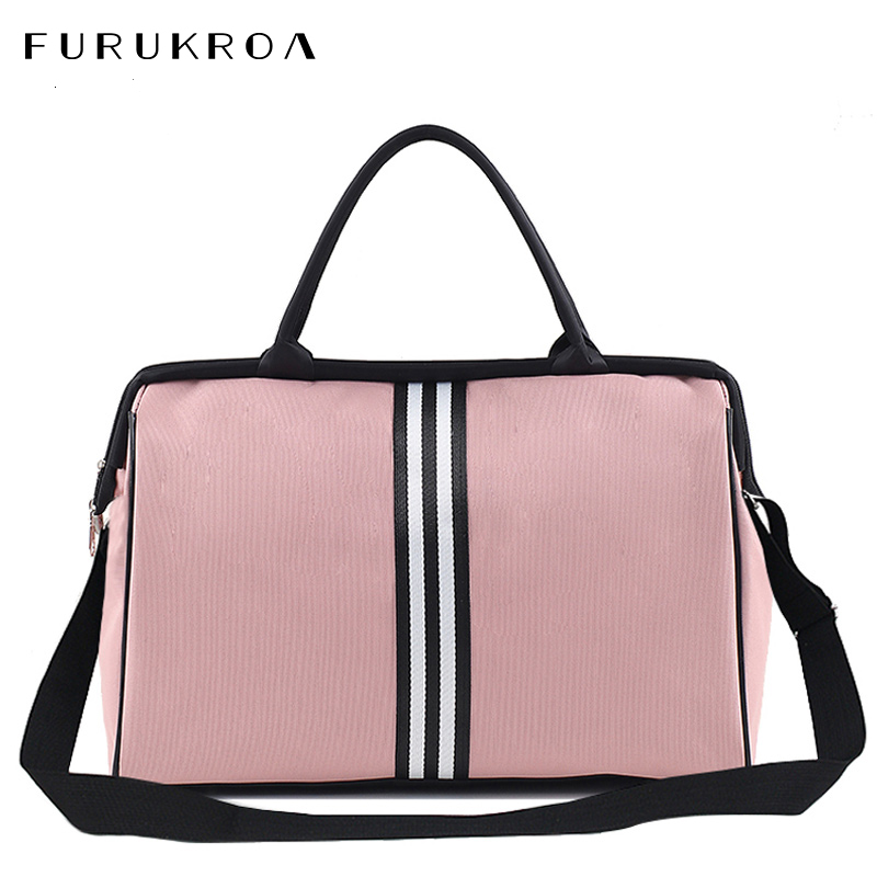 Portable Travel Bag Female Big Fitness Duffel Bag Men Weekend Bags Nylon Overnight Striped Women Handbags Bolsas Viaje XA637B