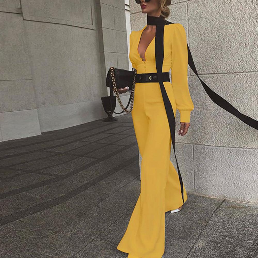 OEAK 2019 Autumn Women Office Lady Deep V-neck Long Sleeve Jumpsuit Elegant Solid Slim Boot Cut Pants Jumpsuits