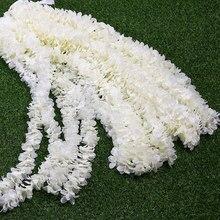 1 м/2 м с искусственные цветы орхидеи гирлянда из ротанга лоза зелеными листьями для дома Свадебные украшения сада подвесная гирлянда стены