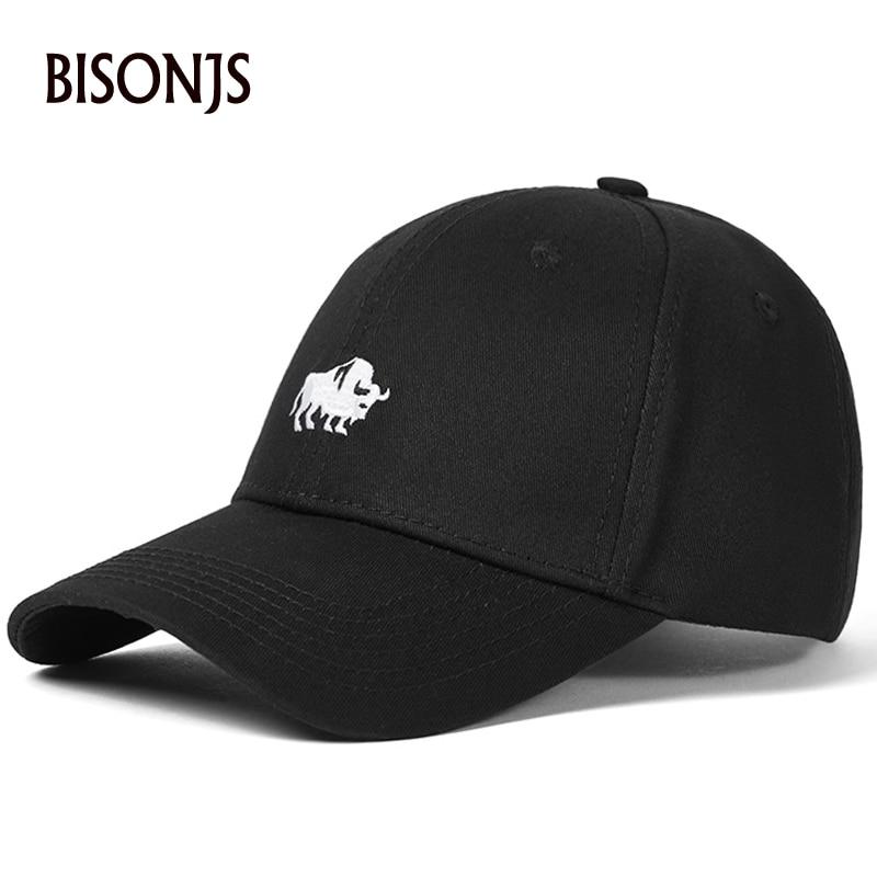 BISONJS 2020 модные хлопковые мужские Бейсбольные кепки с вышивкой, винтажные женские спортивные уличные кепки, регулируемые кепки в стиле хип-х...