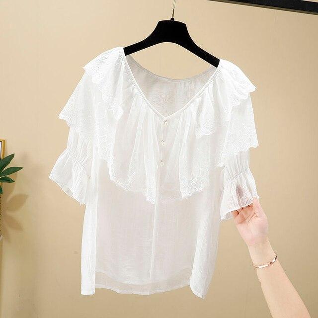 Women Spring Summer Style Chiffon Blouses Shirts Lady Casual Short Sleeve Ruffles Decor V-Neck Chiffon Blusas Tops DF3818 5