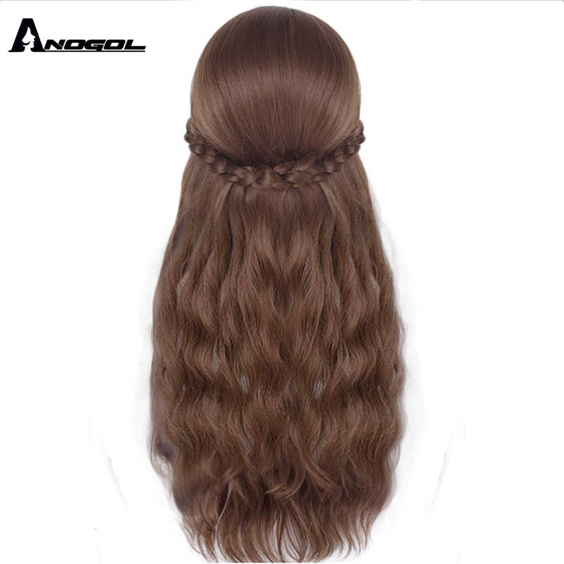 Anogol Frozen II księżniczka anna Brown Mix blond długie naturalne fale syntetyczne na imprezę cosplay peruka dla dzieci i dorosłych