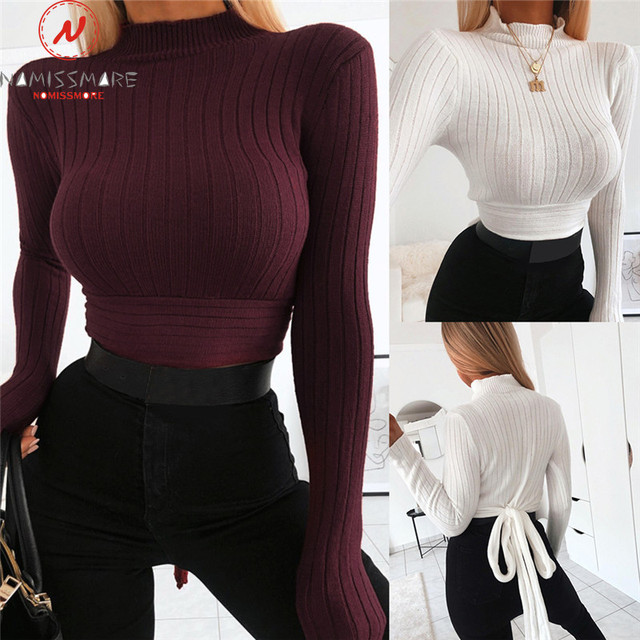 Elegant Women Autumn Winter T-Shirts Patchwork Design Bow Decor O-Neck Long Sleeve Solid Color Slim Pullovers Top for Streetwear