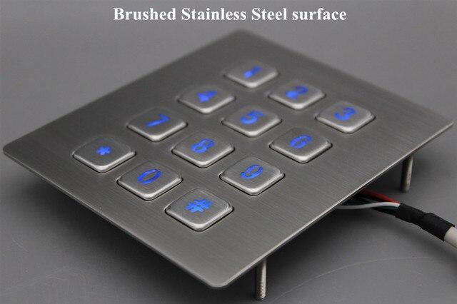 12 Keys 3x4 Matrix USB Kiosk illuminated Keypads Metal Stainless Steel Backlit Numeric Keypad For Access Control 2