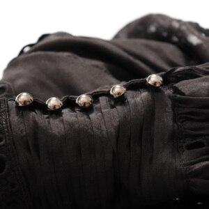 Image 4 - Truevoker滑走路デザイナーリゾートドレス女性のランタンスリーブ刺繍中空アウト金属リベットセクシーなレディースパーティーvestidos