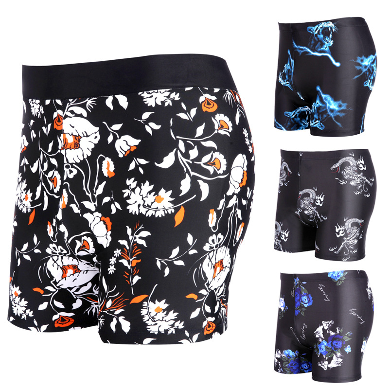 [Manufacturers Wholesale] MEN'S Swimming Trunks Boxer Fashion Large Size Hot Springs Swimming Trunks Fashion Multi-color Digital