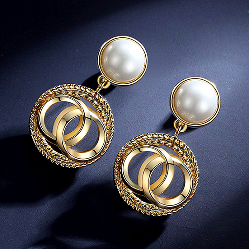 Shinny  Gold Studs Earrings Pearl Earrings Fashion Jewelry High Quality Gifts For Women